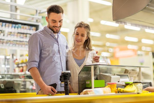 Foto stock: Casal · compra · comida · mercearia · caixa · registradora · compras