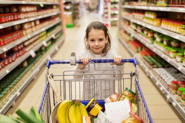 girl with food in shopping cart at grocery store Stock photo © dolgachov