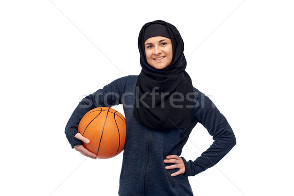 happy muslim woman in hijab with basketball Stock photo © dolgachov