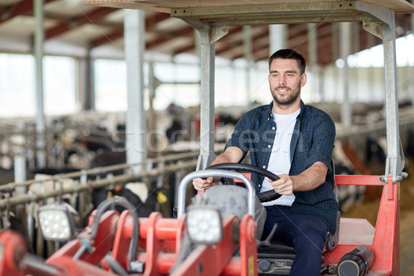 Adam çiftçi sürücü traktör çiftlik Stok fotoğraf © dolgachov