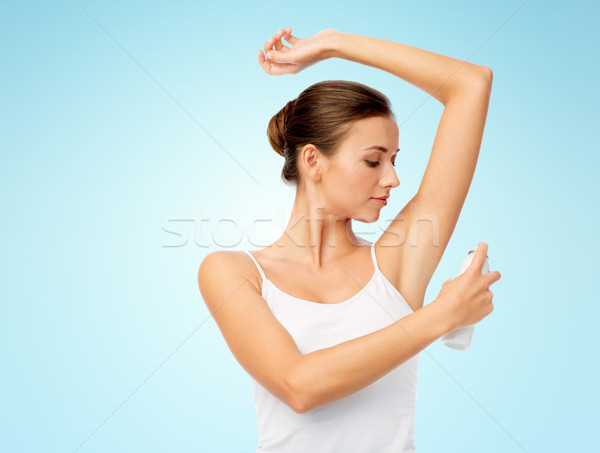 Mulher desodorante azul higiene pessoas Foto stock © dolgachov