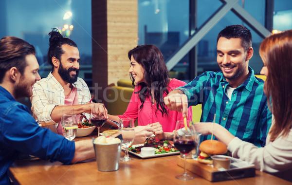 друзей еды дегустация продовольствие ресторан отдыха Сток-фото © dolgachov