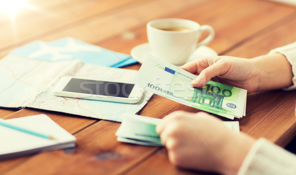 путешественник рук евро деньги отпуск Сток-фото © dolgachov