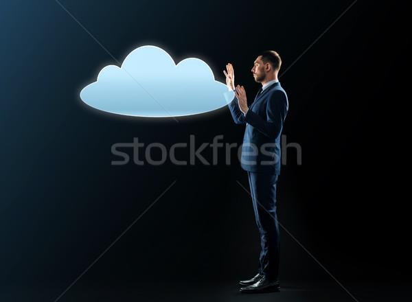 ビジネスマン 雲 投影 ビジネスの方々  サイバースペース コンピューティング ストックフォト © dolgachov