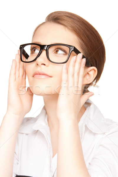 Mujer gafas primer plano Foto belleza gafas Foto stock © dolgachov