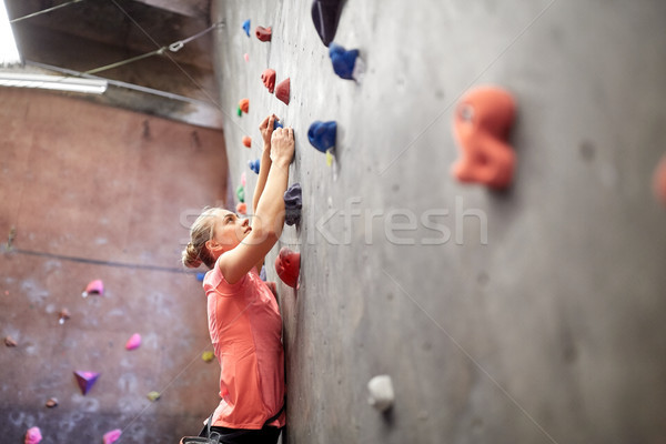 young woman exercising at indoor climbing gym wall Stock photo © dolgachov