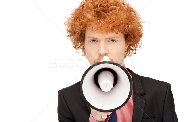 man with megaphone Stock photo © dolgachov