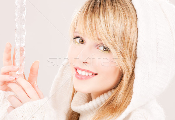 Buz saçağı portre genç kız kadın mutlu güzellik Stok fotoğraf © dolgachov