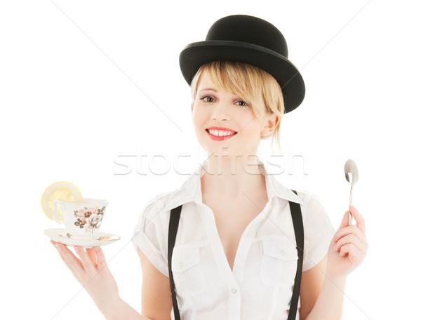 Beker thee heldere foto meisje vrouw Stockfoto © dolgachov