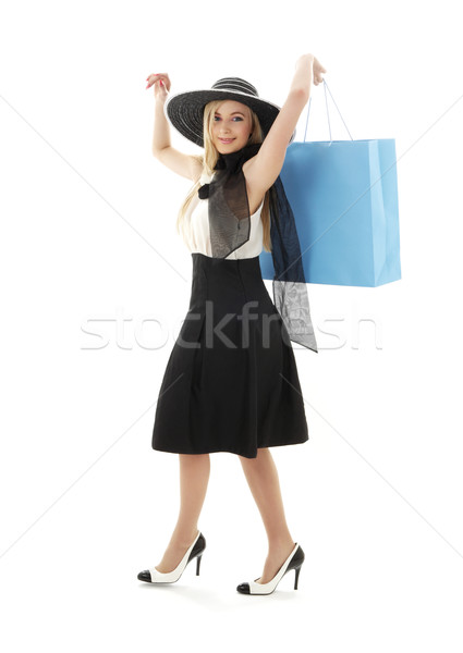 Foto d'archivio: Retro · Hat · blu · shopping · bag · elegante