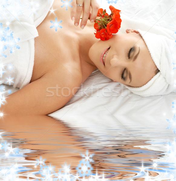 Szag piros fehér homok nő fürdő virág Stock fotó © dolgachov