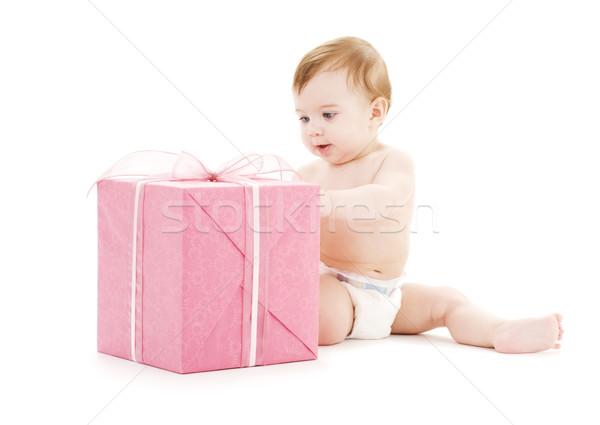 Stock fotó: Baba · fiú · nagy · ajándék · doboz · kép · gyermek