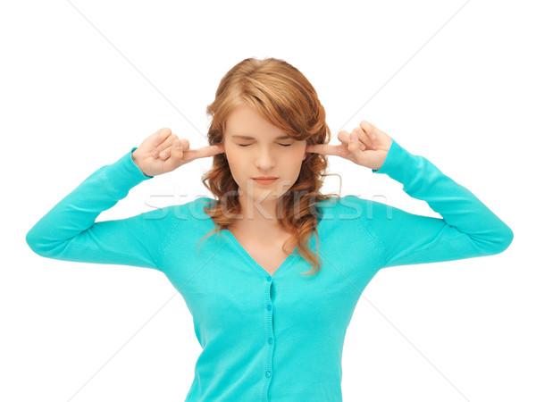 Stockfoto: Student · vingers · oren · foto · vrouw · gezicht