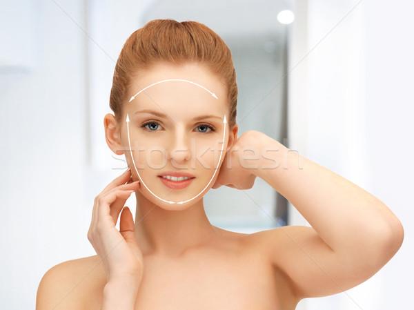 Stok fotoğraf: Yüz · eller · güzel · bir · kadın · resim · hazır · kozmetik · cerrahi