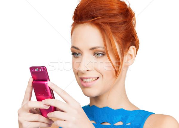 женщину сотового телефона фотография улыбающаяся женщина телефон интернет Сток-фото © dolgachov