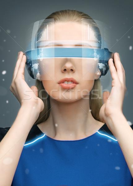 woman in futuristic glasses Stock photo © dolgachov