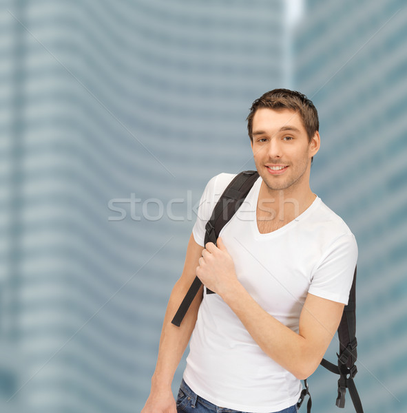 travelling student with backpack outdoor Stock photo © dolgachov