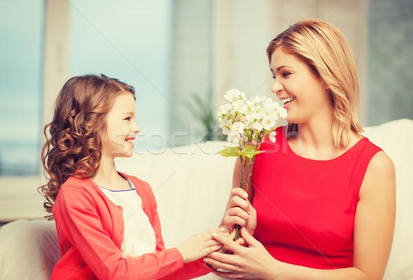 Mutter Tochter Bild Blumen Haus Mädchen Stock foto © dolgachov