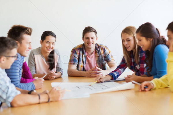 group of smiling students with blueprint Stock photo © dolgachov