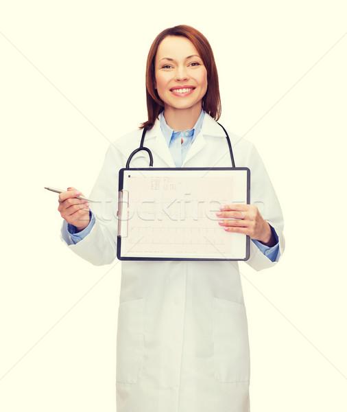 Orvos sztetoszkóp vágólap kardiogram egészségügy gyógyszer Stock fotó © dolgachov