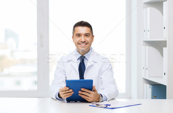 Stok fotoğraf: Gülen · erkek · doktor · beyaz · kat · sağlık