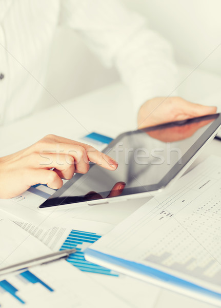 woman with tablet pc and chart papers Stock photo © dolgachov