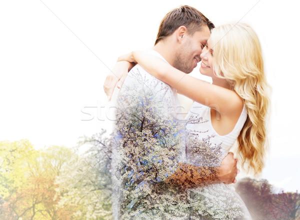 Foto stock: Feliz · casal · flor · de · cereja · primavera · amor
