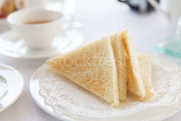 Geroosterd witbrood plaat voedsel ochtend Stockfoto © dolgachov