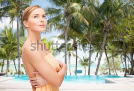 beautiful woman in cotton underwear over beach Stock photo © dolgachov