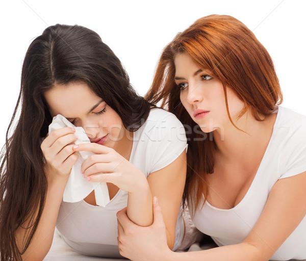 Egy tinilány megnyugtató másik szakítás barátság Stock fotó © dolgachov