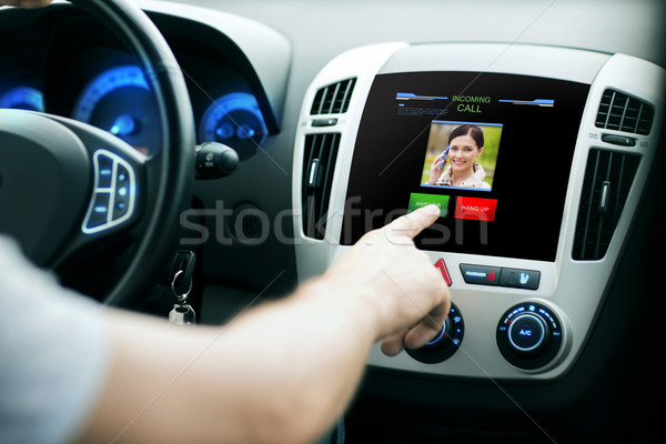 male hand receiving video call on car panel screen Stock photo © dolgachov