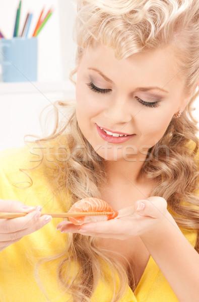 женщину еды суши ярко фотография комнату Сток-фото © dolgachov
