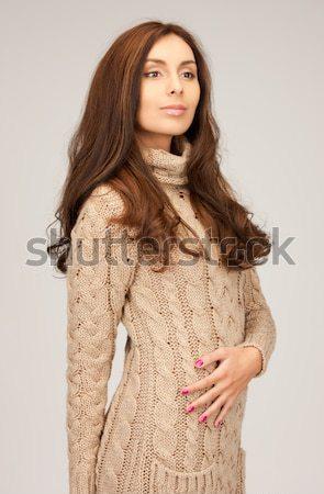 Stock photo: beautiful woman in wool dress