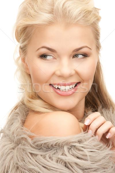 Bella donna pelliccia luminoso foto donna faccia Foto d'archivio © dolgachov