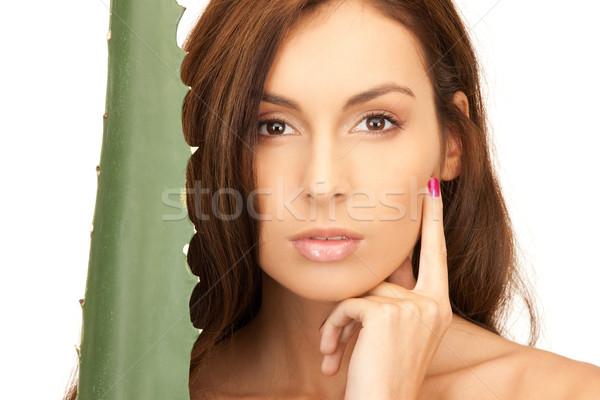 lovely woman with aloe vera Stock photo © dolgachov