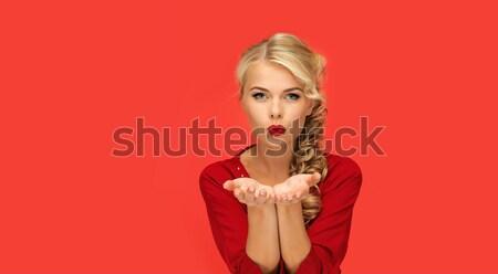 Vrouw iets palmen handen mensen Stockfoto © dolgachov