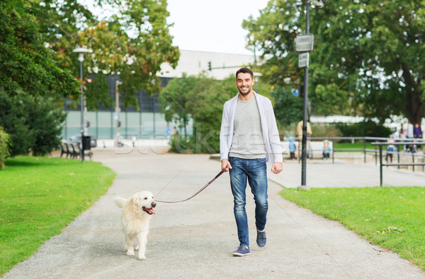 happy man with labrador dog walking in city Stock photo © dolgachov
