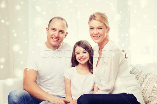 Mosolyog szülők kislány otthon család gyermekkor Stock fotó © dolgachov