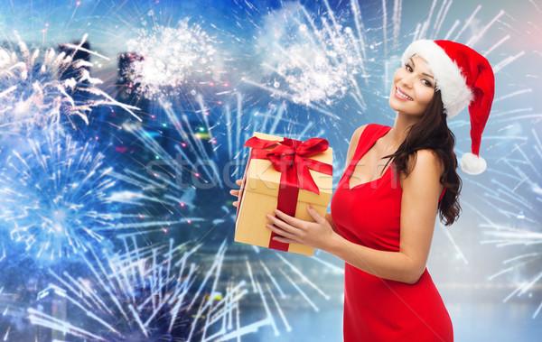 Gelukkig vrouw hoed geschenk vuurwerk Stockfoto © dolgachov