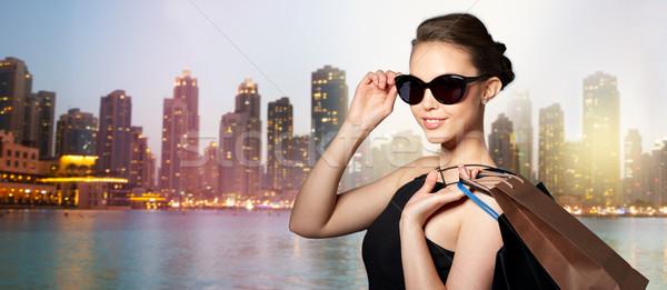 幸せ 女性 黒 サングラス ショッピングバッグ 販売 ストックフォト © dolgachov