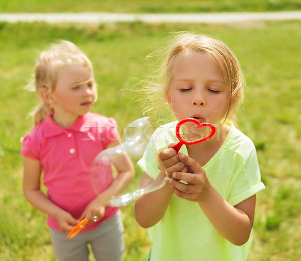 Grupo crianças bolhas de sabão ao ar livre verão Foto stock © dolgachov