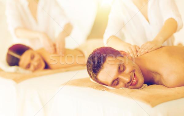 Pareja spa Foto salón mujer manos Foto stock © dolgachov