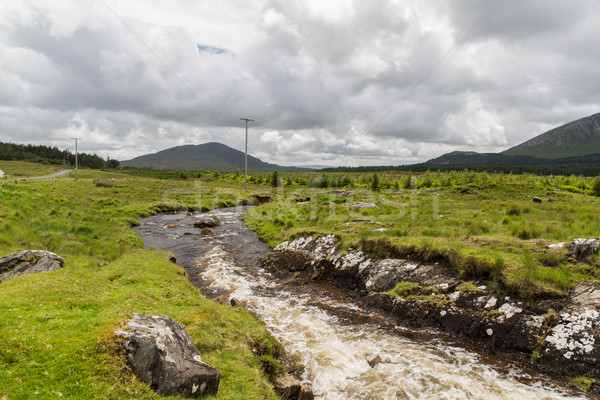 view to river and hills at connemara in ireland Stock photo © dolgachov