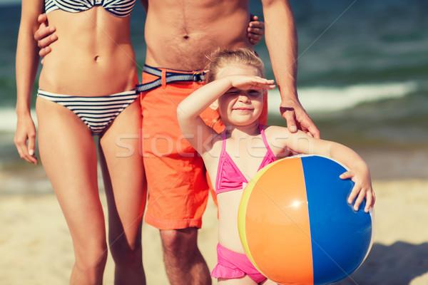 семьи надувной мяча пляж детство Сток-фото © dolgachov