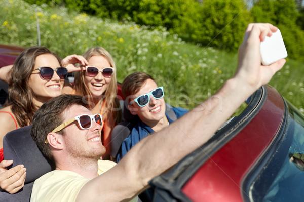 Stockfoto: Vrienden · rijden · kabriolet · auto · recreatie