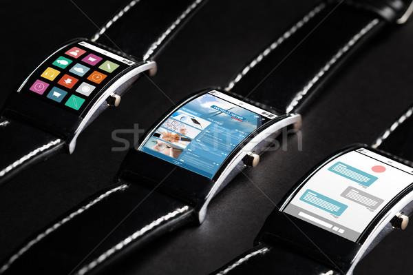 Zwarte smart horloge ingesteld multimedia Stockfoto © dolgachov