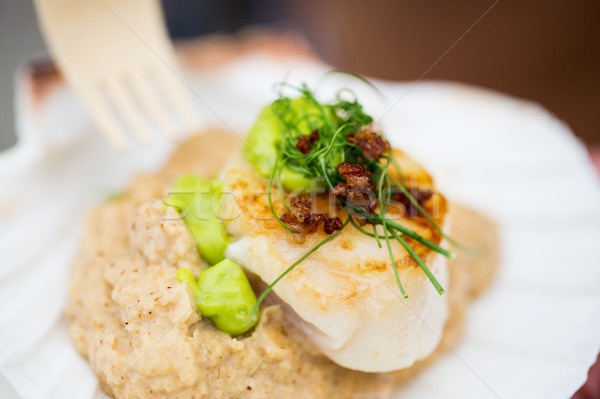 close up of scallop snack with garnish Stock photo © dolgachov
