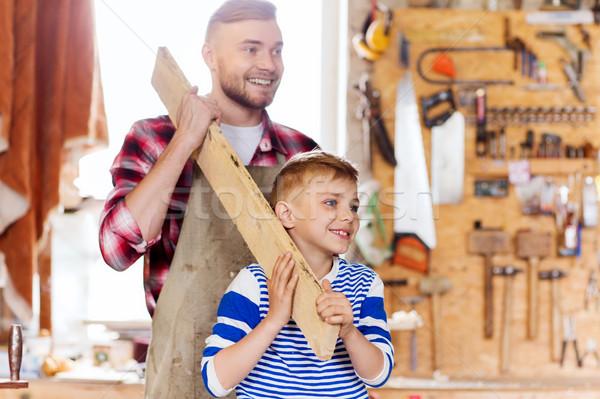 幸せ 父から息子 木材 ワークショップ 家族 ストックフォト © dolgachov