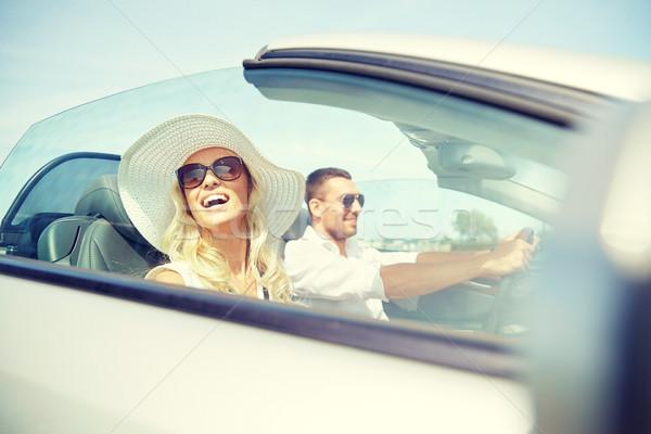 Mutlu adam kadın sürücü kabriyole araba Stok fotoğraf © dolgachov