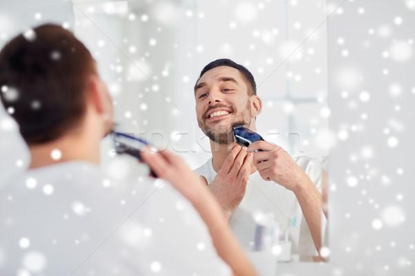 Homme barbe salle de bain beauté hiver Photo stock © dolgachov
